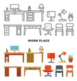 work place furniture and collection - flat home vector image