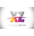 xz x z letter logo design with creative lines and vector image vector image