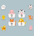 cute little beggar animals help cat dog pig cow vector image