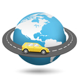 Globe with Road Around the World and Car Isolated vector image