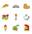 italy icons set cartoon style vector image
