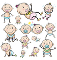 A group of babies vector image vector image