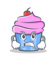angry cupcake character cartoon style vector image vector image