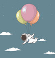astronaut fly with many balloons in sky vector image vector image