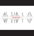 black sound waves logo set on white background