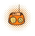 Boom box or radio cassette tape player comics icon vector image