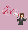 business woman holding a megaphone with word girl vector image vector image
