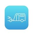 Car with caravan line icon vector image