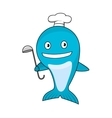 Cartoon blue whale chef wearing cook hat vector image