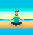 cartoon flat happy man sitting on beach and vector image vector image