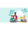 caucasian people working in office under cloud vector image vector image