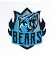colorful emblem badge log of a growling bear vector image