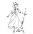 coloring book cinderella character vector image