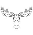 contour a moose head with antlers vector image vector image