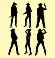 cowboy and cowgirl silhouette 01 vector image vector image