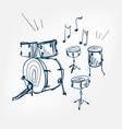 drum set sketch isolated vector image