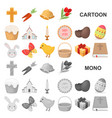 easter is a christian holiday cartoon icons in set vector image