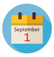 Flat Back to School September Calendar Circle Icon vector image vector image