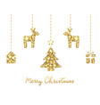 glitter gold hanging christmas tree deers house vector image vector image
