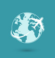 Global plane travel network icon vector image vector image