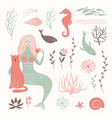 graphic set mermaid cat sea life elements vector image vector image