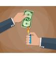 hand burn money bill vector image vector image
