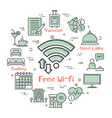 hotel service square concept - free wifi vector image vector image