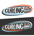 logos for curling sport vector image vector image