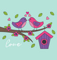 love card with birds on branch vector image