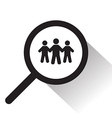 magnifying glass with people icon vector image vector image