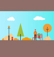 man and child walking in park kid girl vector image vector image