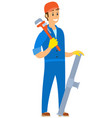 men holding tube and wrench plumber worker vector image