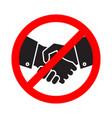 no handshake icon no collaboration stop contact vector image vector image