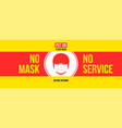 no mask no services warning sign with face icon vector image vector image