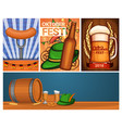 oktoberfest banner set cartoon style vector image