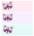 pastel stickers with funny raccoons vector image