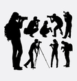 Photographer5 male and female silhouette vector image