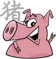 pig chinese horoscope sign vector image vector image