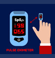 pulse oximeter on index finger blood vector image vector image