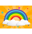 Rainbow star and clouds background vector image