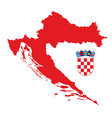 red croatia map with coat arms vector image vector image