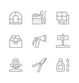 set line icons gardening vector image vector image
