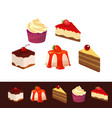 set of icons dessert dishes vector image vector image