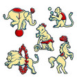 set of retro vintage style circus trained wild vector image
