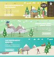 set of winter fun horizontal banners in vector image