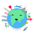 smiling planet earth on white background vector image vector image