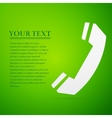 Telephone handset flat icon on green background vector image vector image