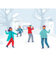 winter characters playing snowballs joyfull people vector image vector image