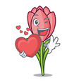with heart crocus flower mascot cartoon vector image