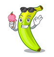 with ice cream character natural fruit fresh green vector image vector image